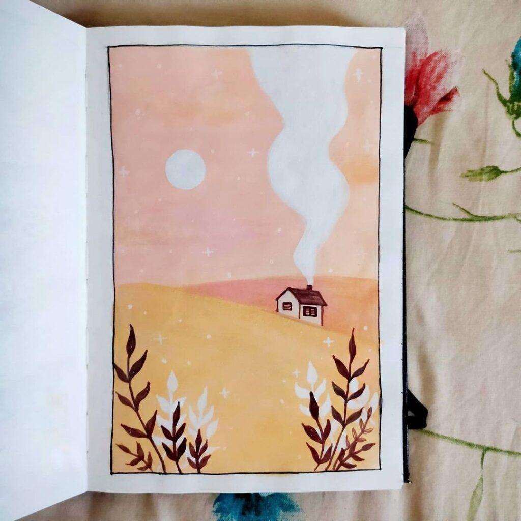 Watercolor Fields Bullet Journal Idea