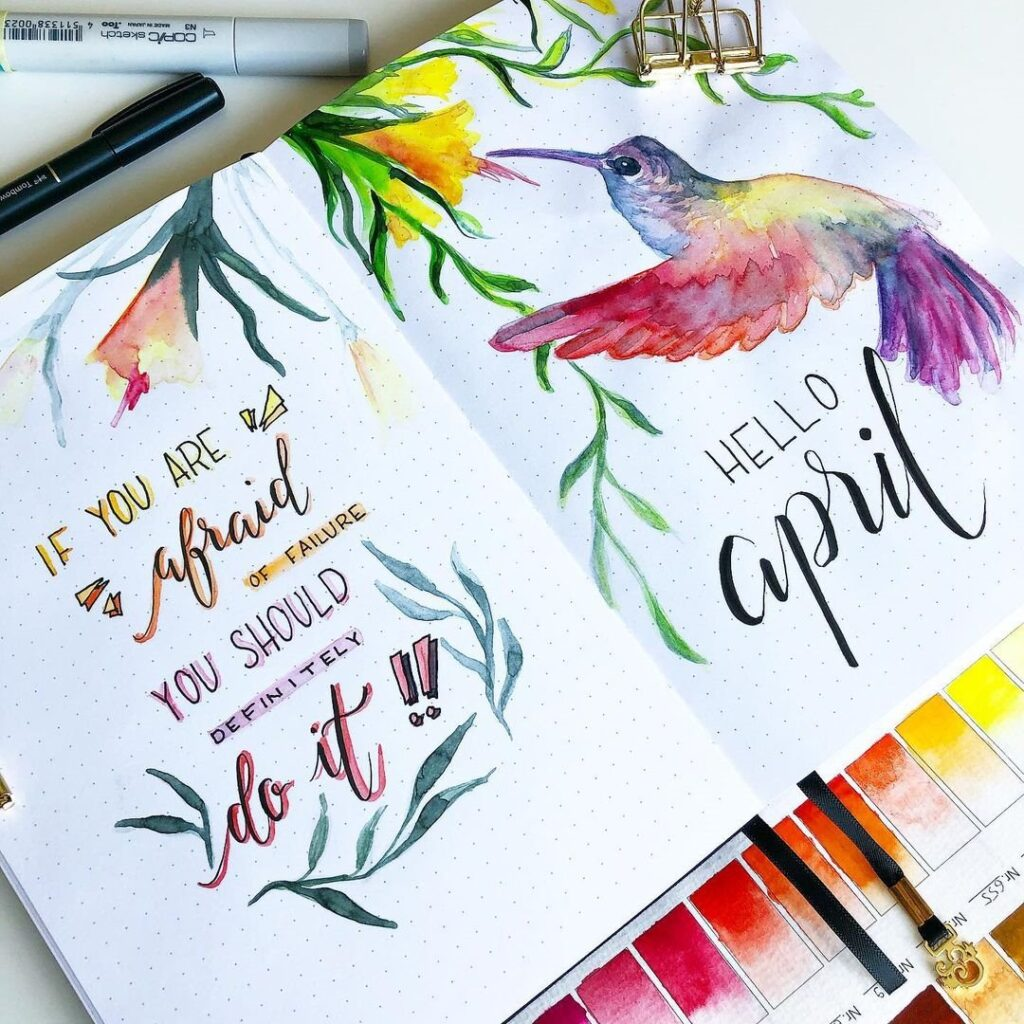 Watercolor Humming Bird April Bullet Journal Cover Idea