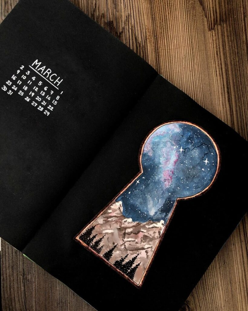 Watercolor Night Sky March Bullet Journal Cover