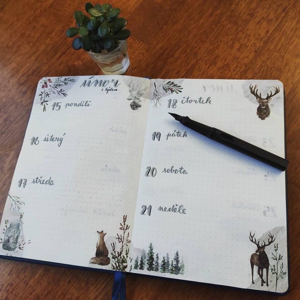 Winter Woodland Animal Bullet Journal Spread