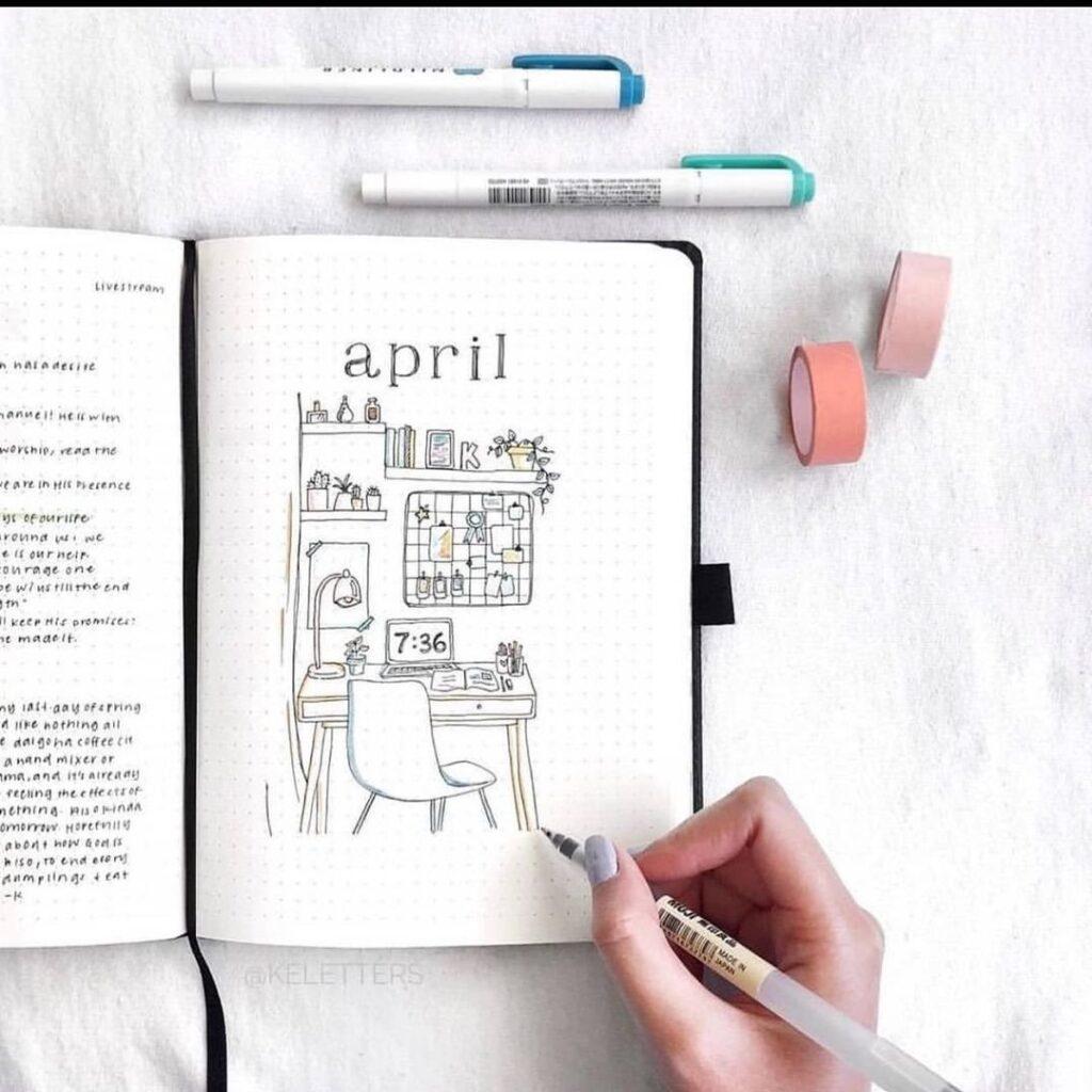 Work Studio Illustration April Bullet Journal Cover