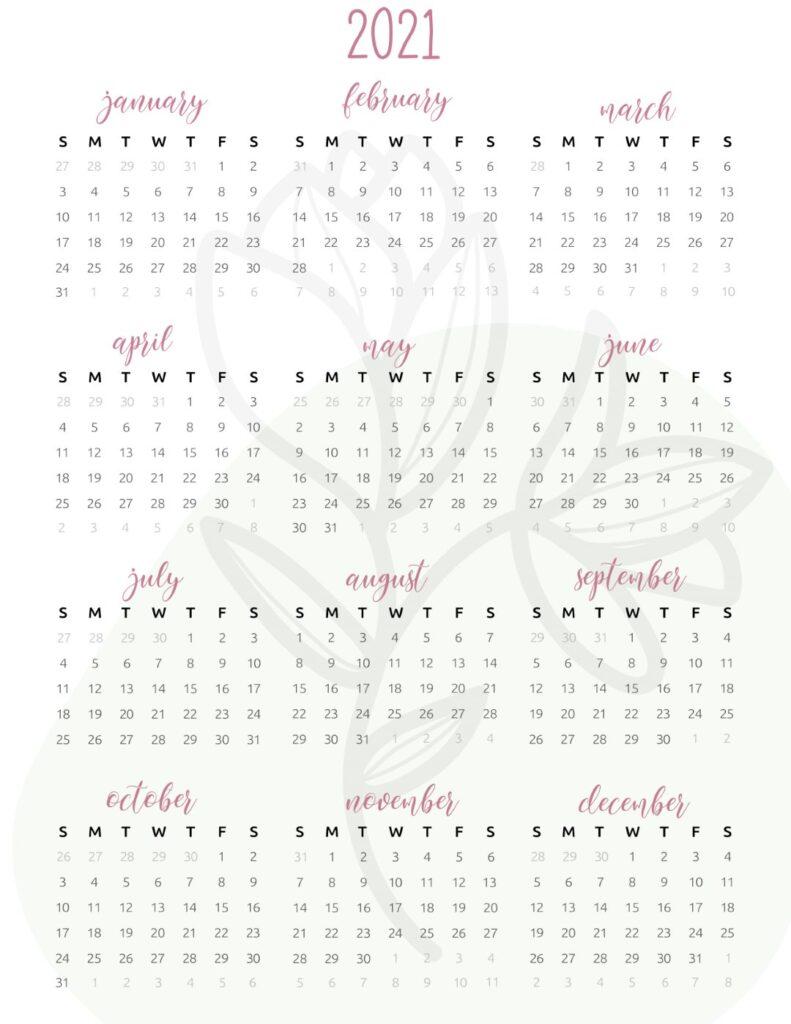 floral 2021 calendar full year