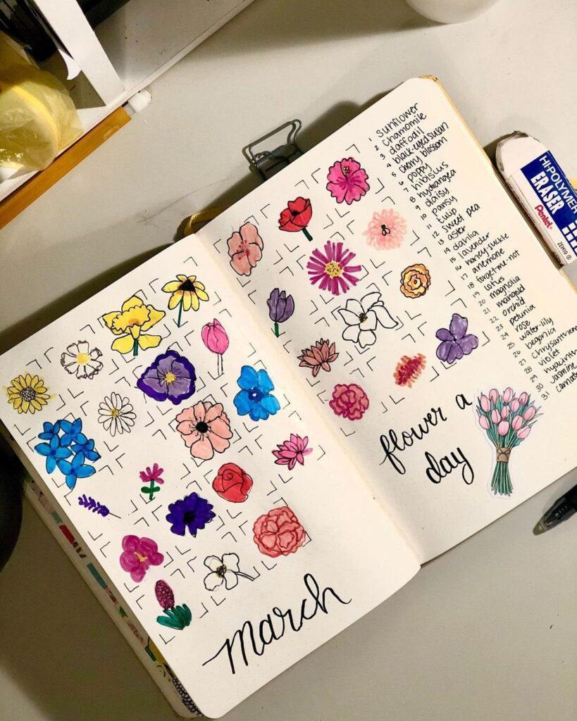 flower March Bullet Journal Spread