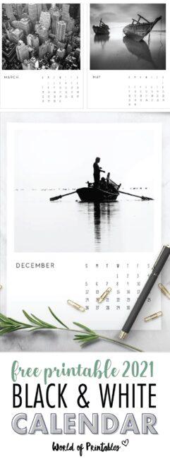 free black and white printable calendar 2021
