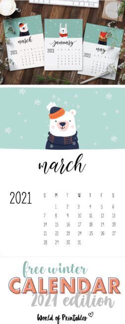 free cute animals winter calendar 2021 printable