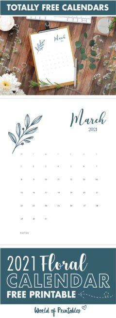 free floral calendar 2021 printable