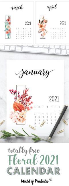 free floral printable calendar 2021