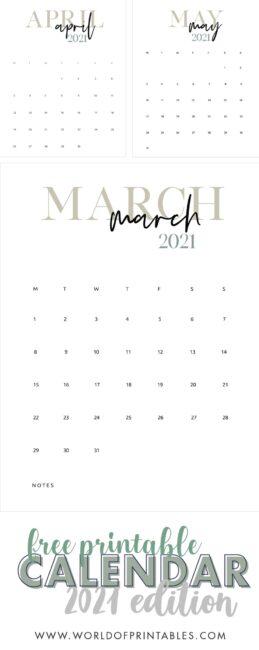 free printable calendar 2021 template
