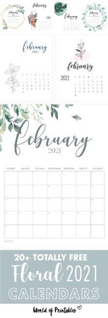free printable floral february calendar 2021