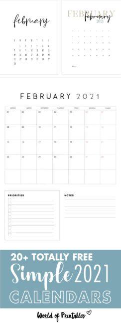 free simple printable february calendar 2021