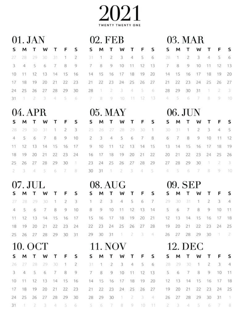 full year 2021 calendar