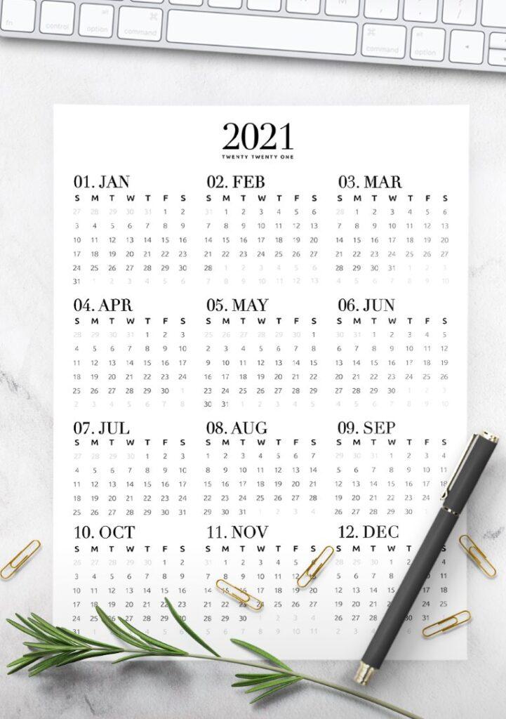 full year 2021 calendar free printable