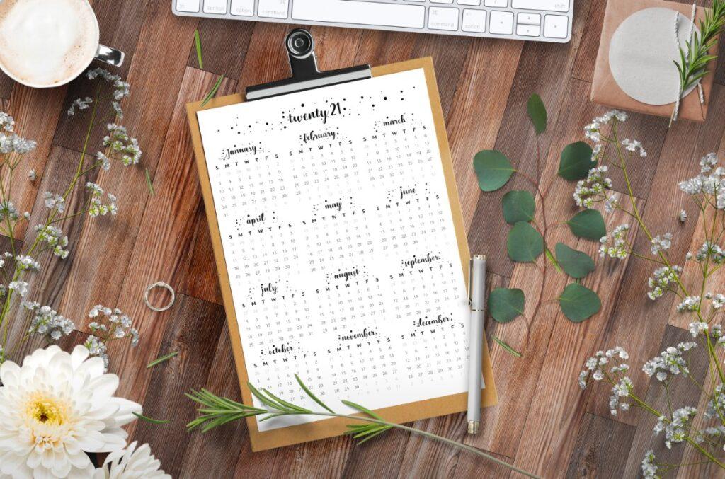 full year calendar 2021 cursive printable