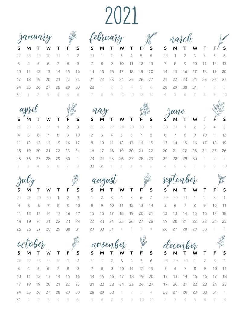 full year calendar 2021 floral
