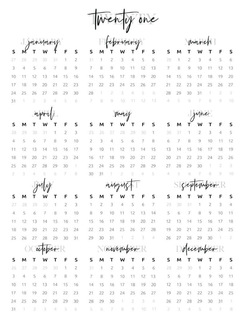 full year calendar 2021 modern