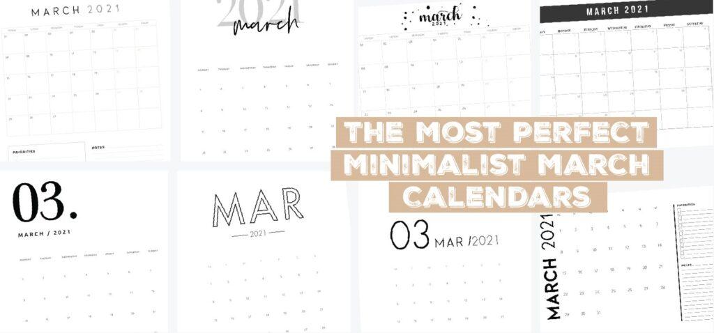 minimalistic march calendars