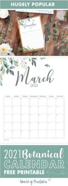 printable calendar 2021 botanical floral calendar