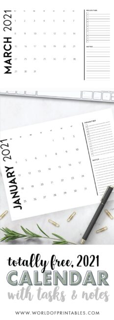 printable calendar 2021 with tasks and notes