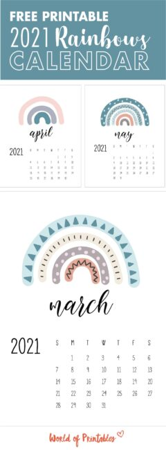 rainbows printable calendar 2021