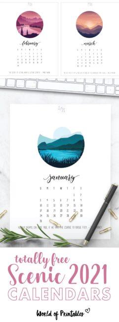 scenic printable calendar 2021