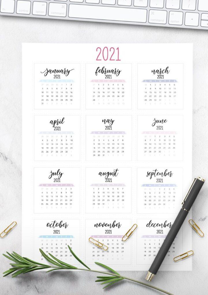 watercolor full year 2021 calendar free printable