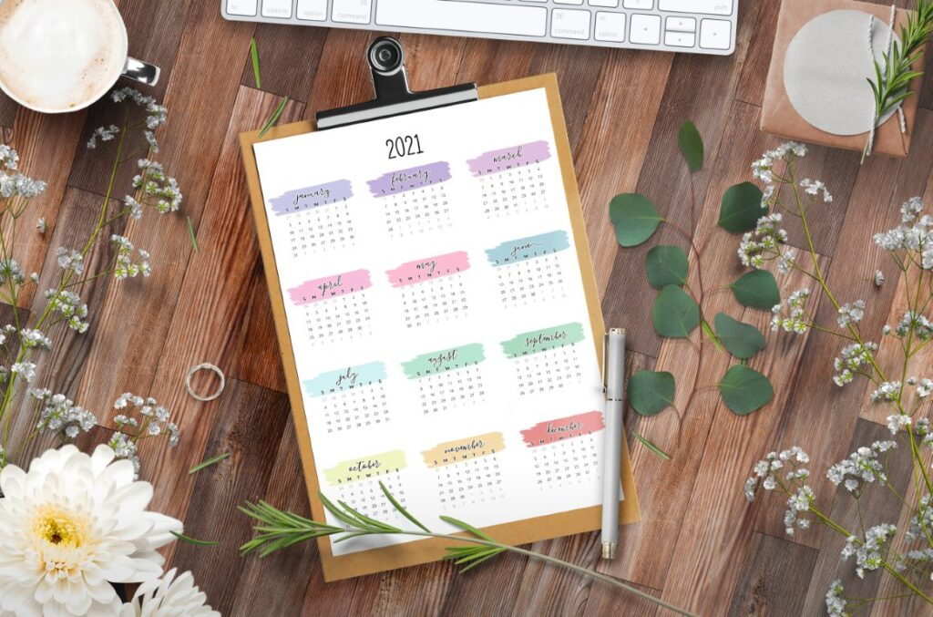 watercolor one page 2021 calendar printable