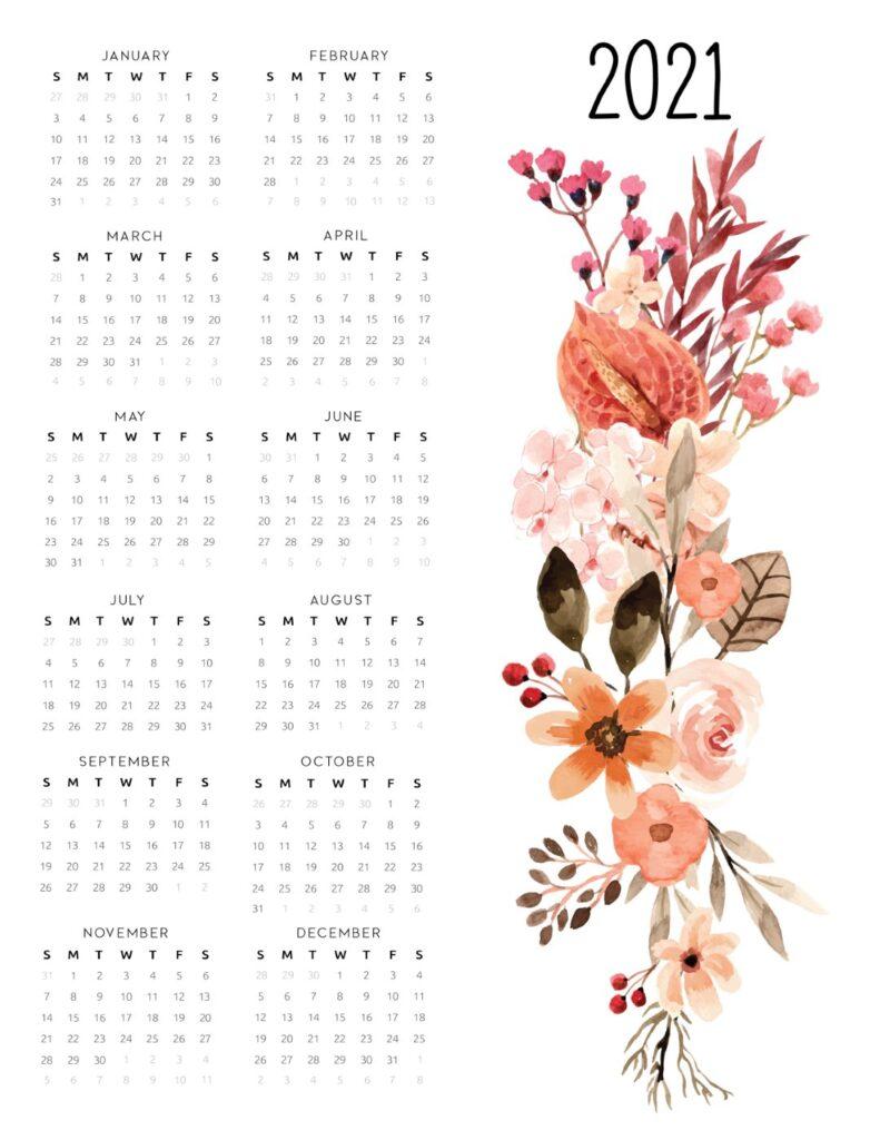 year calendar 2021 floral