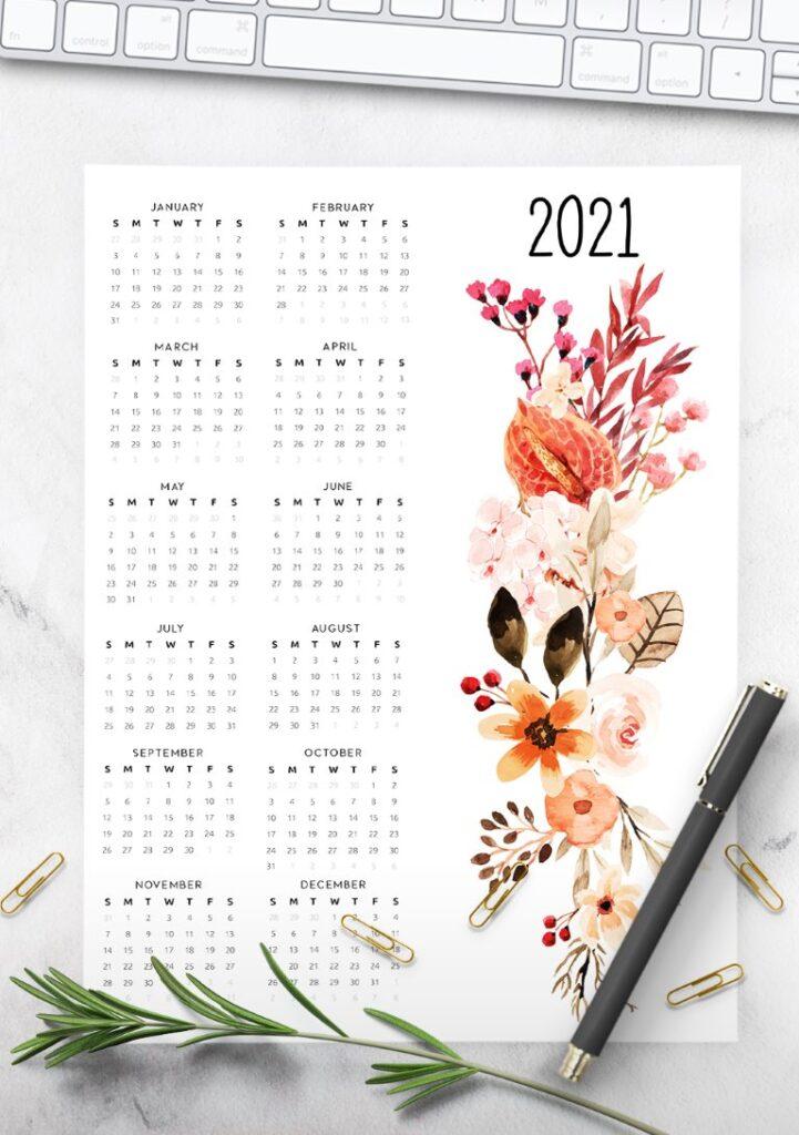 year calendar 2021 floral free printable