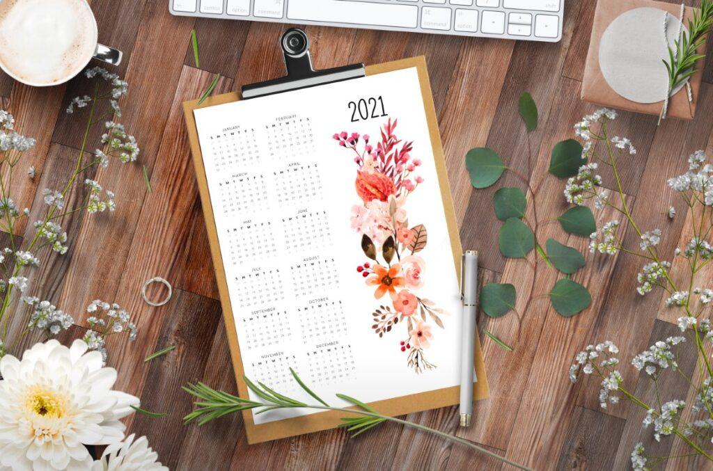year calendar 2021 floral printable