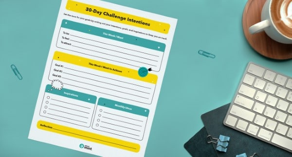 Printable 30 day Challenge Intentions tracker