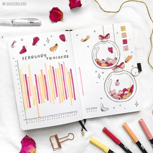 Beautiful Petal bullet Journal Mood Tracker