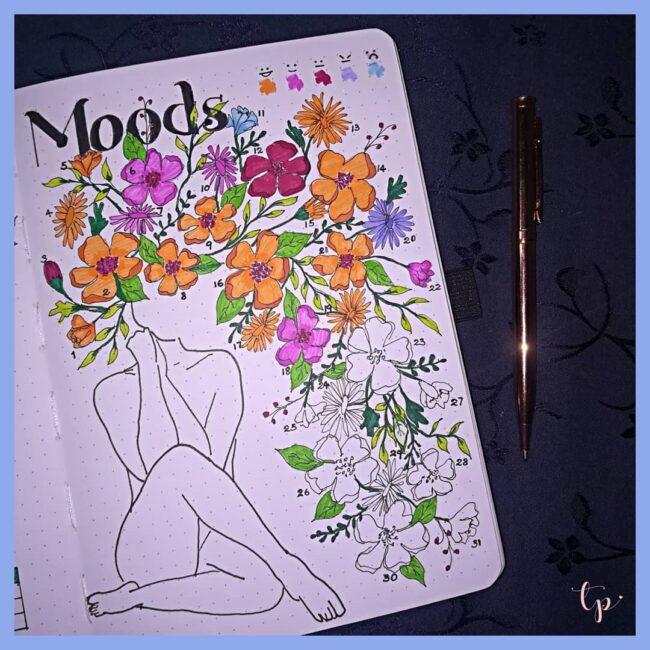 Bullet Journal Floral Mood Tracker