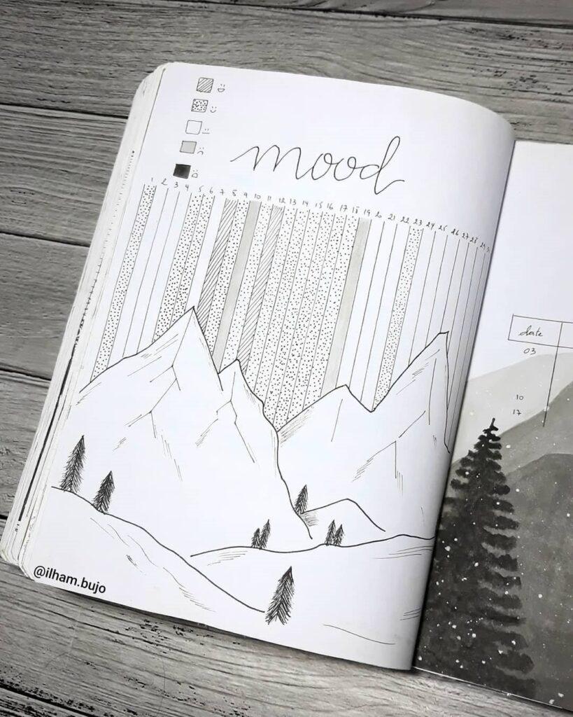 Mountain Bullet Journal Mood Tracker