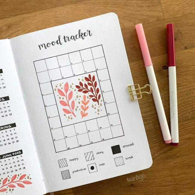 Simple Floral Bullet Journal Mood Tracker