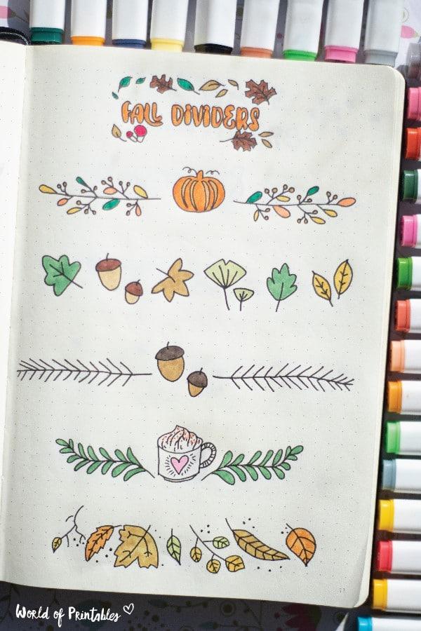 fall bullet journal dividers theme