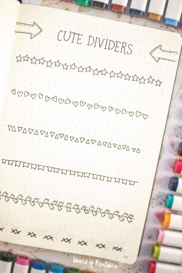 basic bullet journal doodle dividers