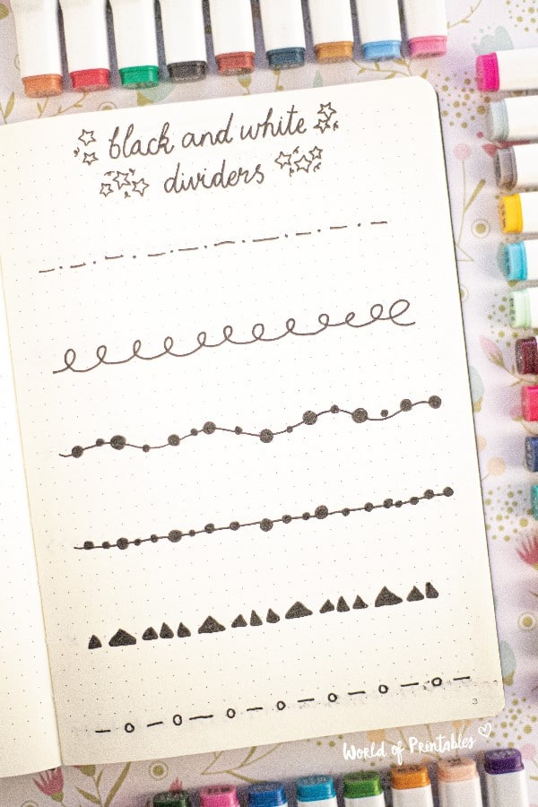 black and white bullet journal dividers