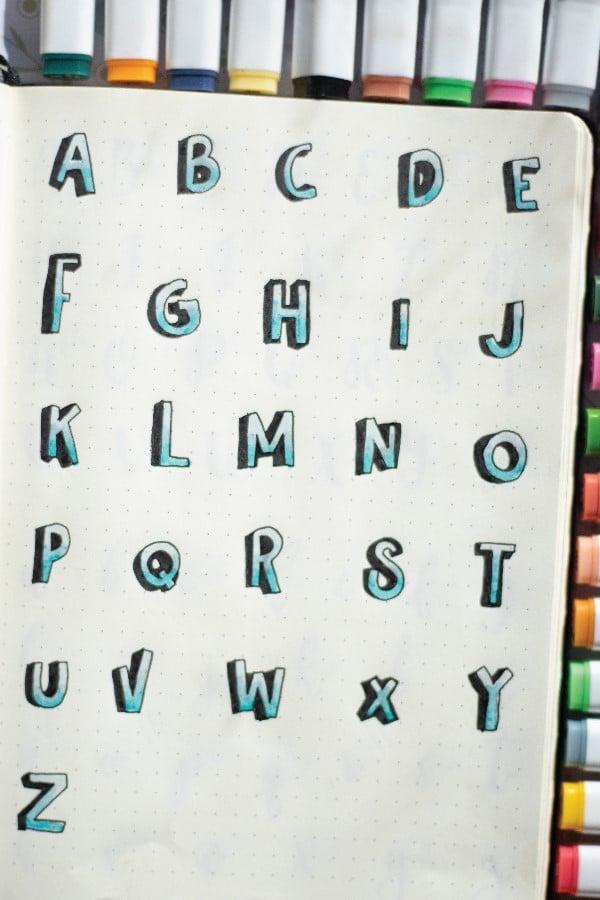 drop shadow bullet journal font