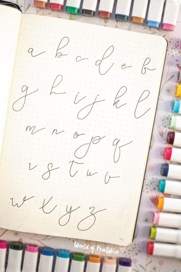 cursive bullet journal font ideas