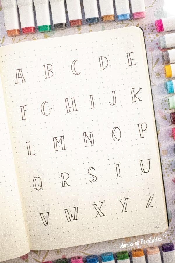 modern outline bullet journal font