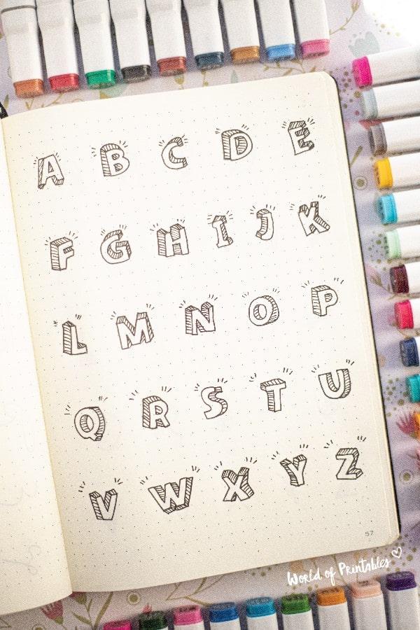 bubble letter font for bujo