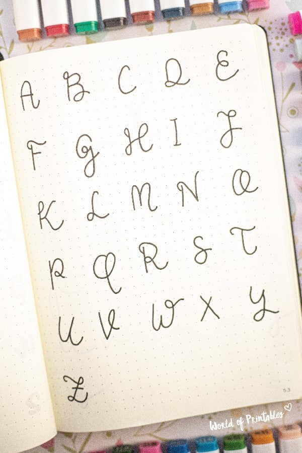 easy letter examples for bujo page