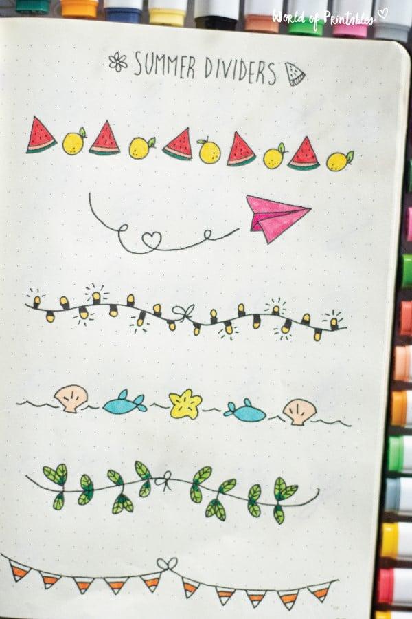 summer bullet journal dividers