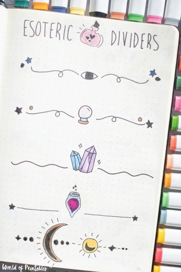 esoteric divider for bullet journal