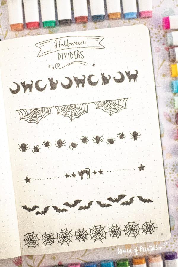 halloween bullet journal dividers