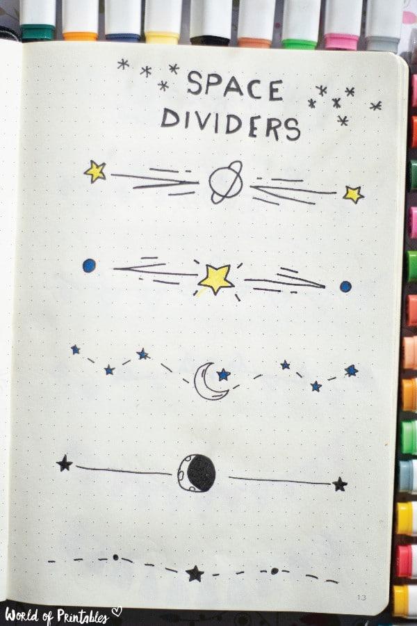 bullet journal space dividers