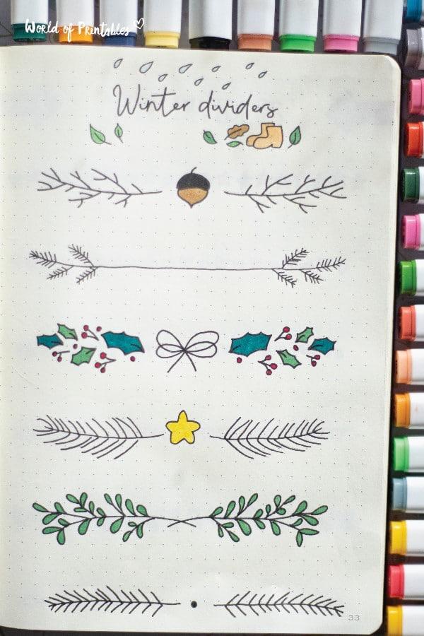 winter divider ideas for bullet journal