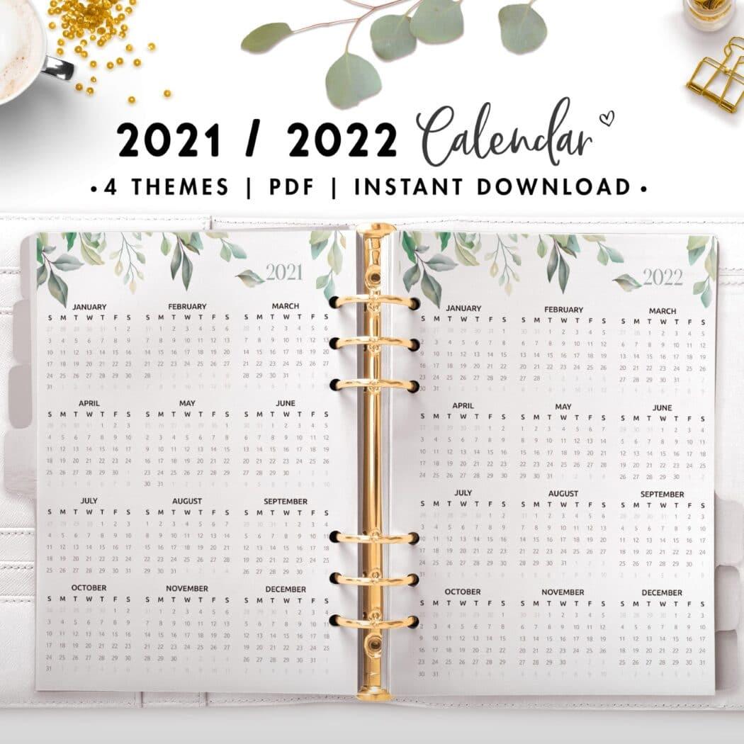 2021 2022 calendar - botanical