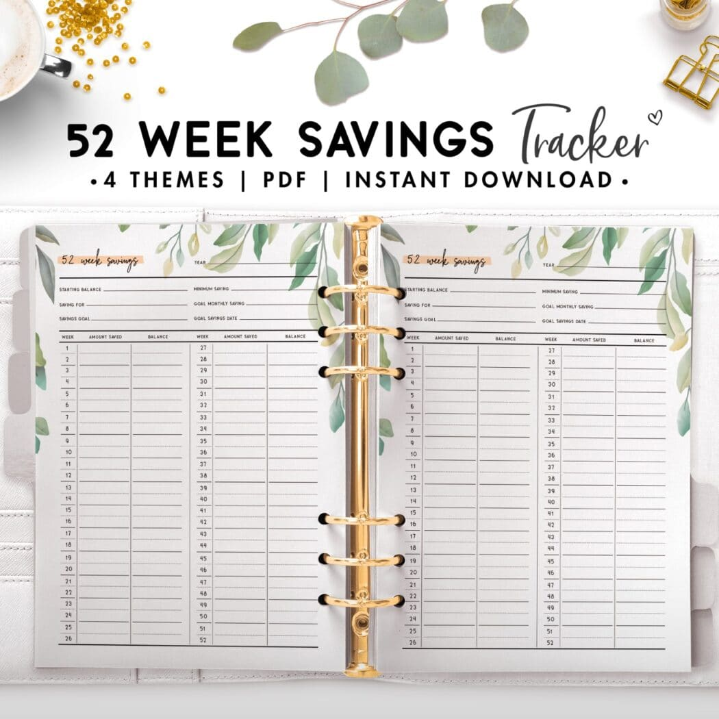 52 week savings tracker - botanical theme