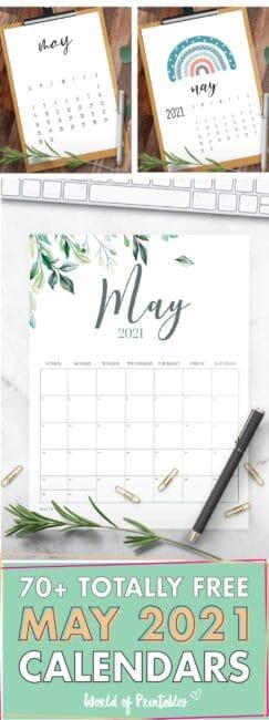 70 free Printable May 2021 Calendar Templates